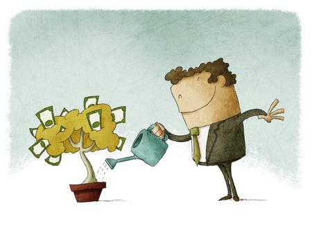 Hombre que toma el cuidado de sus finanzas que riega un árbol de dinero