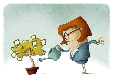 Woman taking care of her finances watering a money tree photo