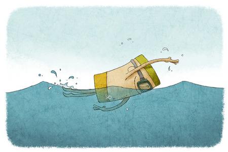 Funny illustratie van man zwemmen