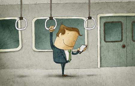 telefono caricatura: El hombre de negocios que viaja en el metro mirando un tablet