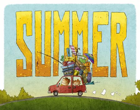 De zomer familie reis