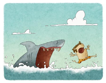 Ataque de tiburón Foto de archivo - 54968278