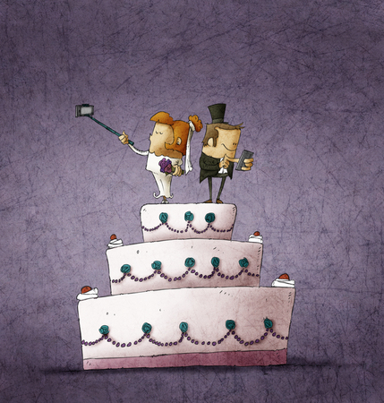 Humorvolle Abbildung von Braut und Bräutigam, die auf Hochzeitstorte und mit ihren Smartphones