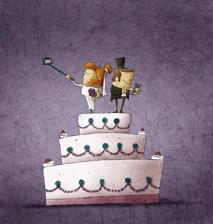 personas de pie: Ilustraci�n humor�stica de la novia y el novio de pie en la torta de la boda y el uso de sus tel�fonos inteligentes Foto de archivo