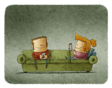 telephone cartoon: Couple on the couch not speak for his addiction to mobile