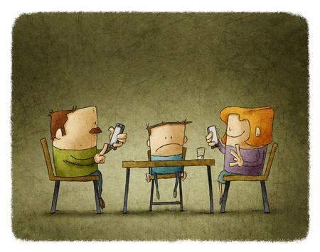 telefono caricatura: Los padres adictos a los teléfonos inteligentes, mientras que el niño sentado aburrido