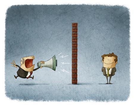 kommunikation: boss skrika med en megafon till en anställd som är bakom en tegelvägg och inte få något ljud Stockfoto