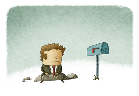 businessman waiting mail