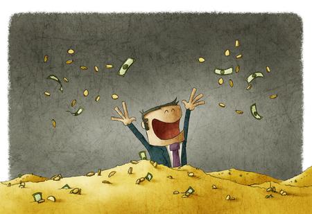 man viert zijn rijkdom