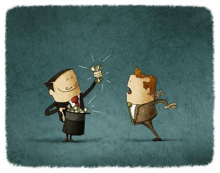goochelaar doet een truc met geld en een business man kijkt hem verbaasd.