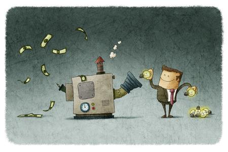 Biznesmen przekształca pomysły na pieniądze w maszynie