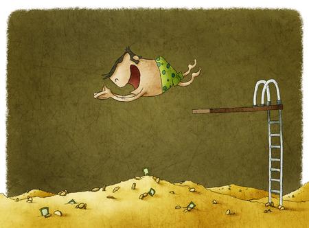 Man duiken in een grote stapel geld