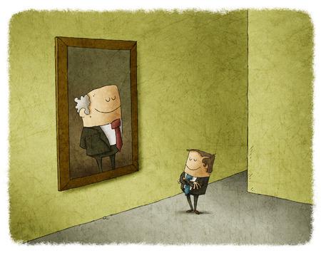 predecessor: Businessman admiring portrait of his predecessor Stock Photo
