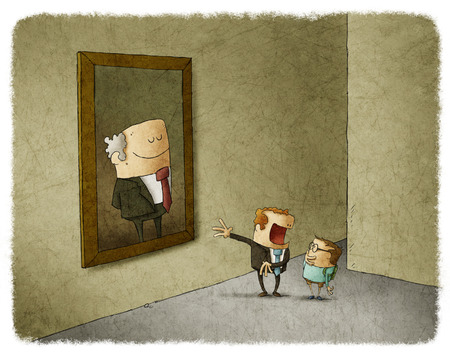 cartoon dad: father and her son admiring portrait of his predecessor