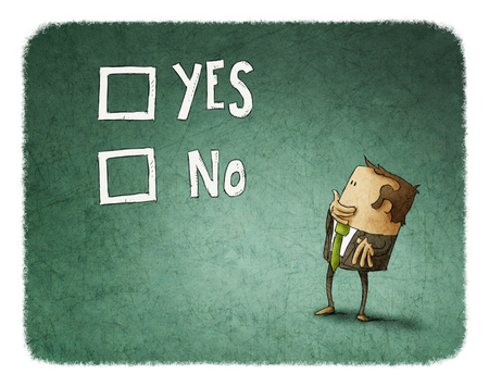 hesitate: man take a decision between yes or no