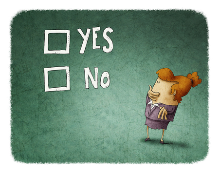 hesitate: woman take a decision between yes or no