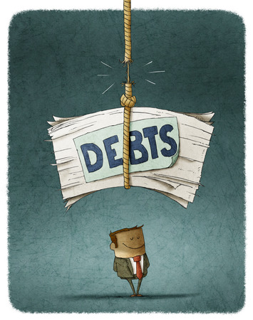 fall about: pile of unpaid debts about to fall over the defaulter Stock Photo