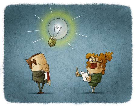 femme dessin: homme d'affaires qui a une idée pendant le rapport