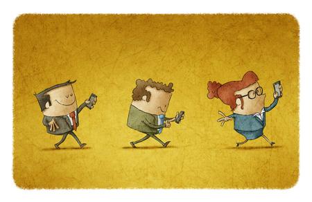 businessteam met hun mobiele telefoons Stockfoto