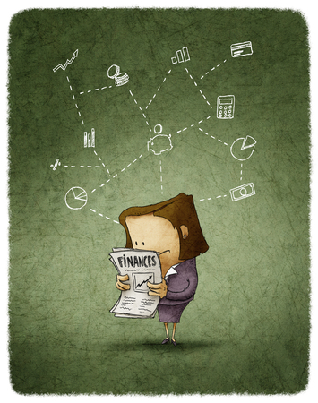 femme dessin: femme lire un journal financier