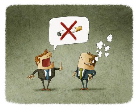 男は別に喫煙を禁止する警告しています。