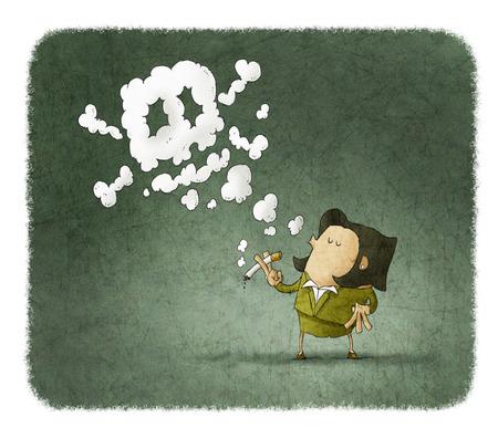 dangerous woman: woman smoking dangerous cigarette with toxic skull smoke Stock Photo