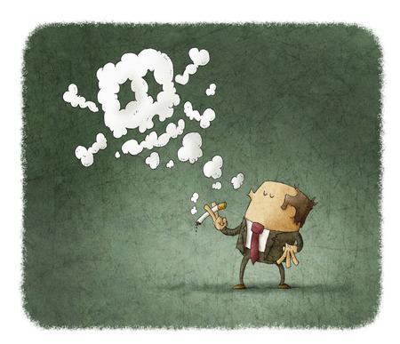 bad breath: man smoking dangerous cigarette with toxic skull smoke Stock Photo