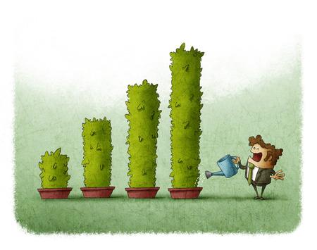 Business man besproeien van planten groeien als een staafdiagram