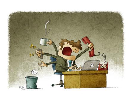 telefono caricatura: hombre de negocios ocupado