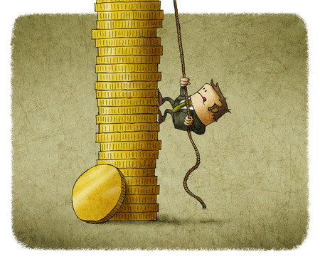 climb: business man climbing a stack of coins Stock Photo