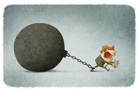 El hombre de negocios encadenado a una bola grande Foto de archivo - 54968358