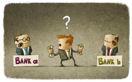 Hombre que elige el banquero para depositar dinero Foto de archivo
