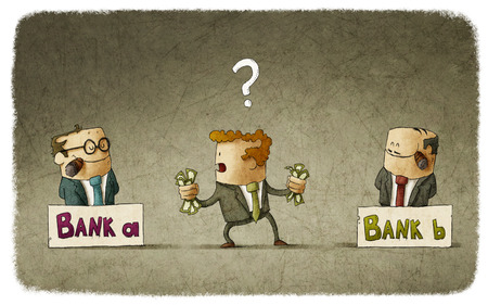 confused cartoon: Man choosing banker to deposit money