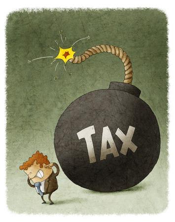 Zakenman met Reusachtige Tax Bomb achter