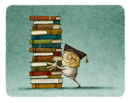 illustration of a girl graduate hugging a stack of books