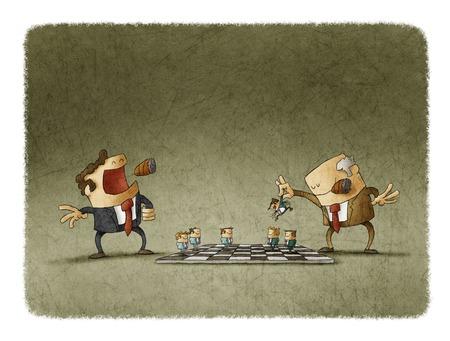 dominacion: Dos jefes jugando al ajedrez con el personal que muestran la dominación y el poder. Foto de archivo