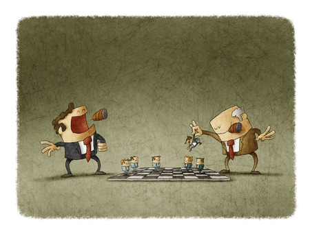 predominance: Two bosses playing chess with personnel showing domination and power. Stock Photo