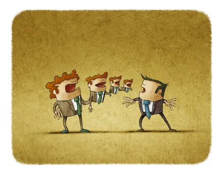 puppeteer: Illustration of man controlling three puppet toys on hand in front of other businessman.