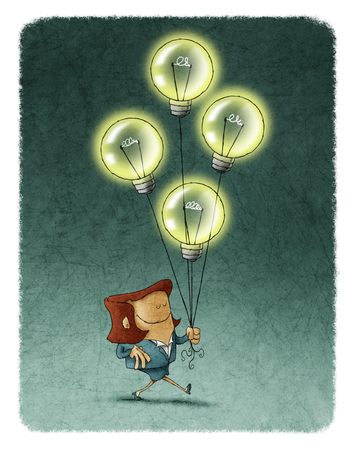 eyes closed: Illustration of smiling businesswoman with eyes closed walking with four flying illuminated bulbs.