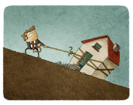 Illustration of struggling businessman in suit pulling up the rope with house along the slope Foto de archivo