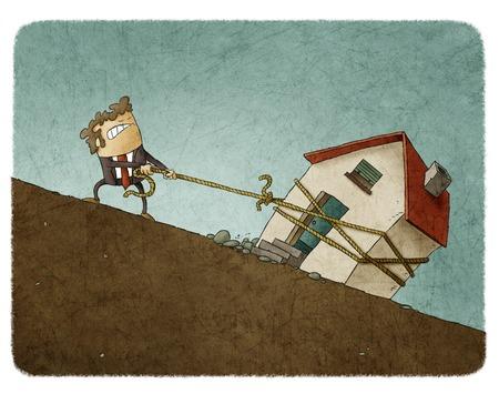 Ilustración de la lucha de negocios en juego tirando de la cuerda con la casa a lo largo de la pendiente