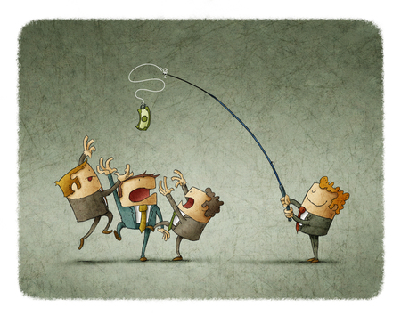 Illustration of man holding rod with dollar and teasing colleagues