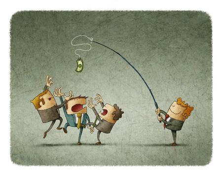 Ilustración del hombre barra de sujeción con el dólar y burlas colegas Foto de archivo - 66225842