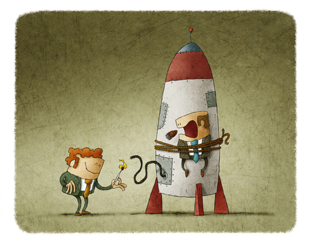tied up: Man lighting up the rocket with man tied on it who is scary and smoking cigar Stock Photo