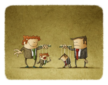 puppeteer: Sad and happy businesspeople playing puppets.One puppet is sad,other is angry.