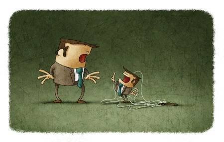 domination: Illustration of stunned businessman looking at tiny puppet talking to him with finger up.