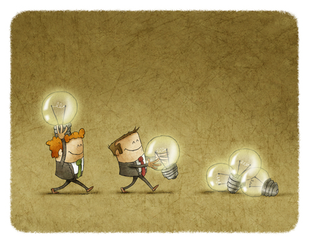 bringing: Two businessmen bringing bulbs in one heap Stock Photo