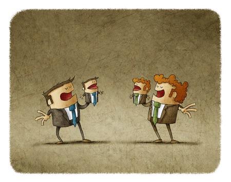 Illustratie van twee business rivalen spelen marionet miniaturen van zichzelf.