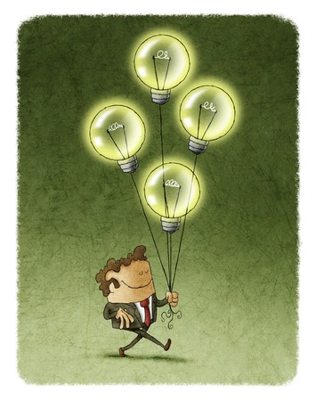 eyes closed: Illustration of smiling businessman with eyes closed walking with four flying illuminated bulbs.