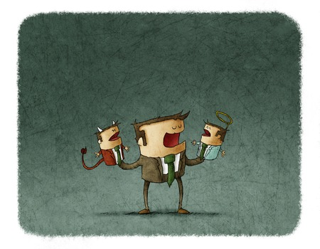 dilema: Conceptual illustration of businessman talking to angel and devil puppets.